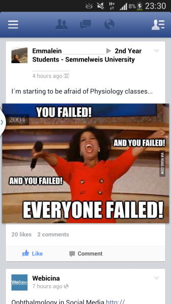 Funny post shared in the group for 2nd year students. It's sad but true...and somehow uplifting at the same time.