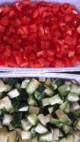 Red bell pepper and cucumber for the salad