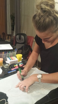 Jannie coloring the nerves...