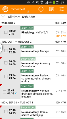 A glimpse at my TimeSheet. I'm really enjoying the app. It keeps my accountable for the hours I spend studying and I really like that I can look back at what I have covered and how long it took me to do it.
