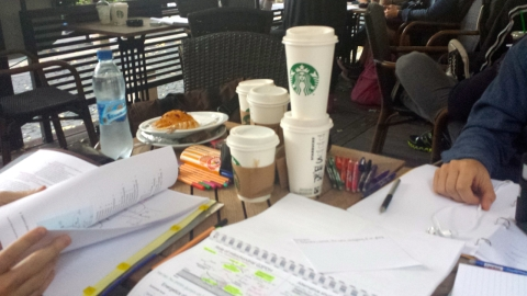 Med students drink a lot of coffee!