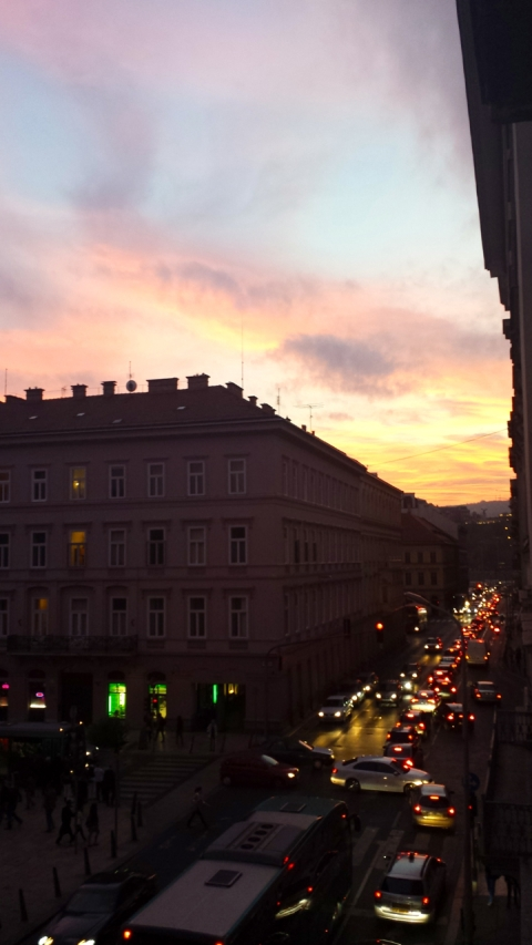 Beautiful sunset from our building. I have to get down to the river next time I see one like that!