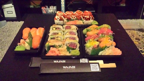 Sushi dinner for our anniversary celebration. We enjoyed a quiet night in with some shows and sushi :)