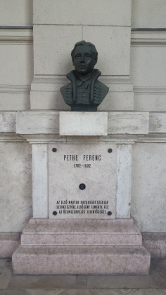 "Another ""who's the statue?"" moment. Pethe Ferenc was the editor of the first Hungarian business magazine."