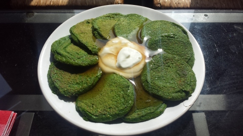 My first attempt at proteinpow.com's spinach pancakes - topped with greek yogurt and Walden Farms pancake syrup.