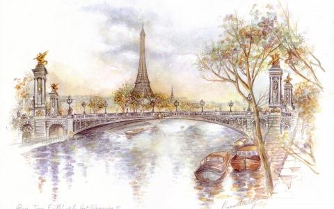 Paris Drawing Wallpaper 2560X1600